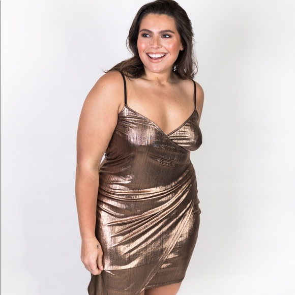 14c899844b Plus Size Wrap Front Gold Metallic Dress. Boutique. Elara Luna